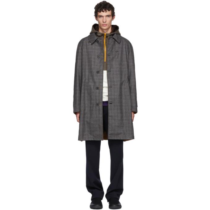Reversible Houndstooth Trench Coat In Grey