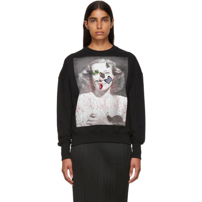 Beaded Appliqué-Embellished Cotton-Jersey Sweatshirt, 0901 Black