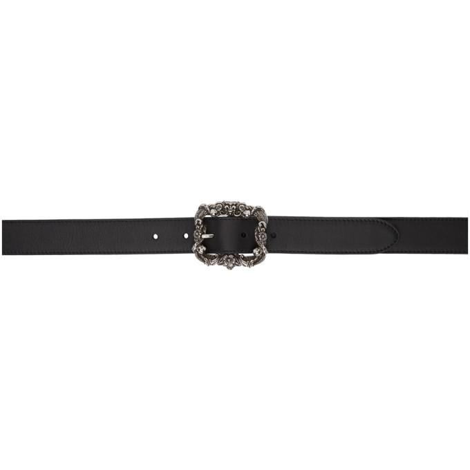 ALEXANDER MCQUEEN Black Leather Engraved Belt