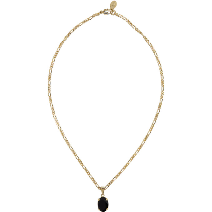 Gold & Black Oval Pendant Necklace by Alexander Mcqueen