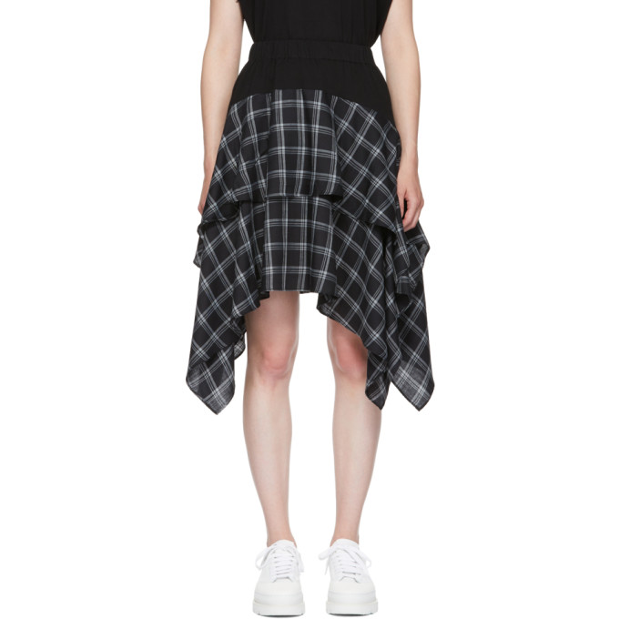 Ruffled Cotton-Paneled Plaid Brushed-Twill Skirt in Black from OPENING CEREMONY