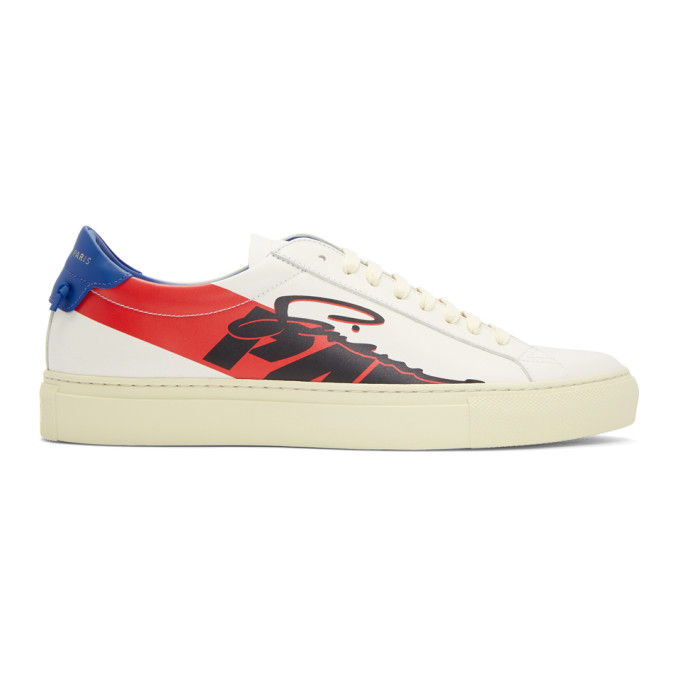Urban Street Printed Leather Sneakers, 982Bl/Rd/Wh