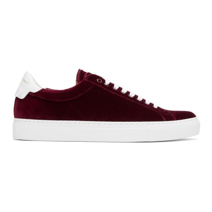 Burgundy Red Urban Street Velvet Sneakers