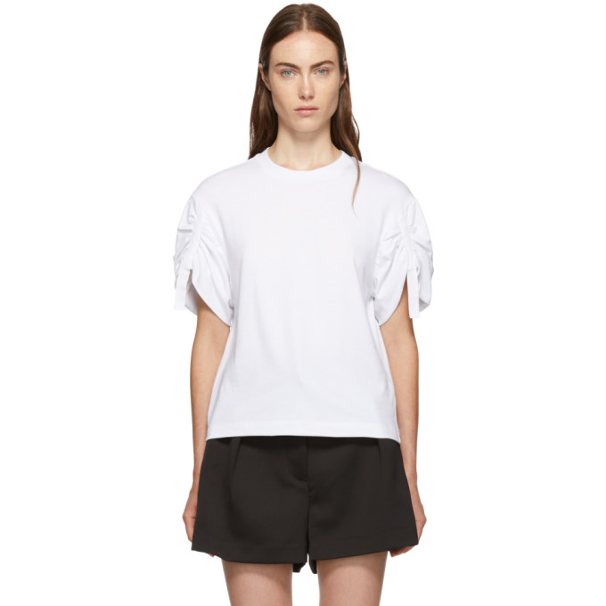 White Gathered Sleeves T Shirt by 3.1 Phillip Lim