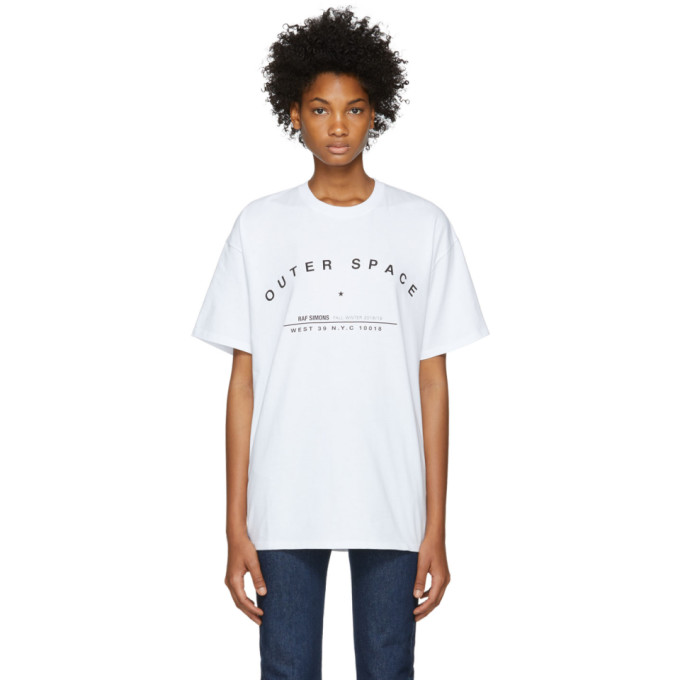 Raf Simons - Outer Space Print Cotton T Shirt - Womens - White in 00010 White