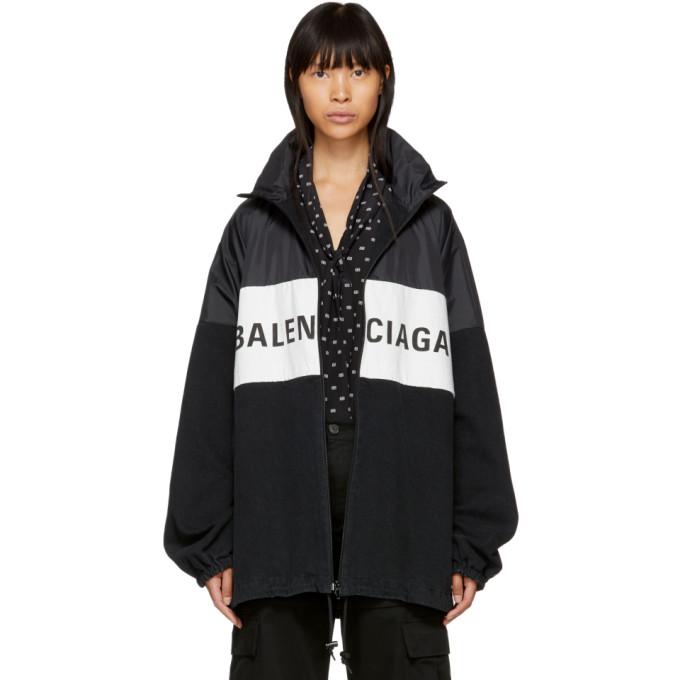 Balenciaga Nylon And Denim Logo Zip-front Jacket, Black In 1000 Black