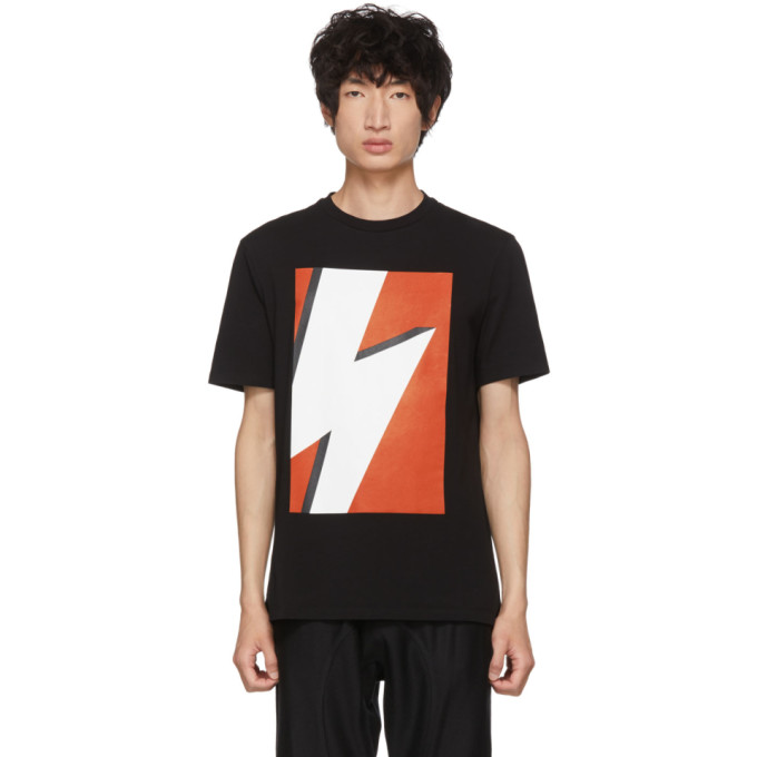 NEIL BARRETT Black & Red Pop Art Thunderbolt T-Shirt