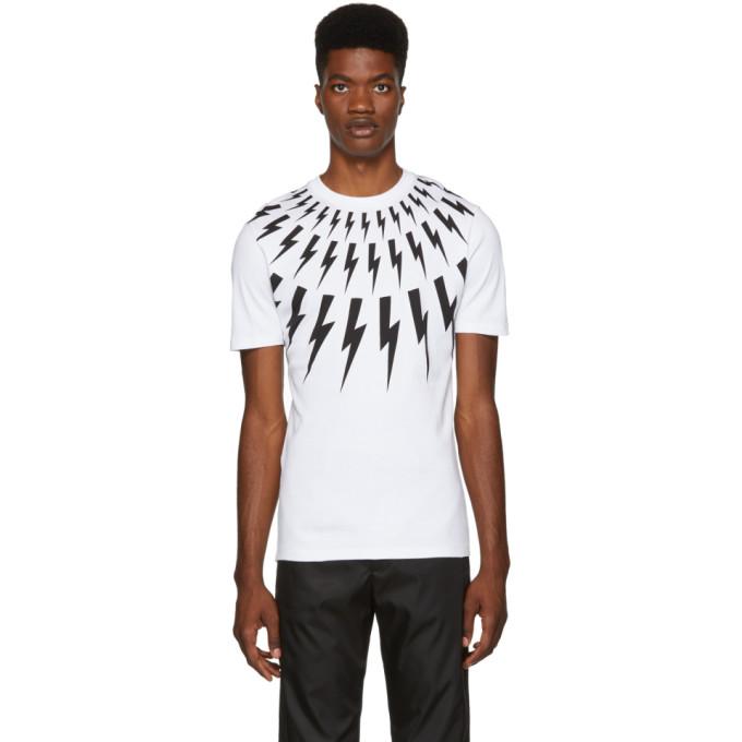 NEIL BARRETT Lightning Bolt T-Shirt in White