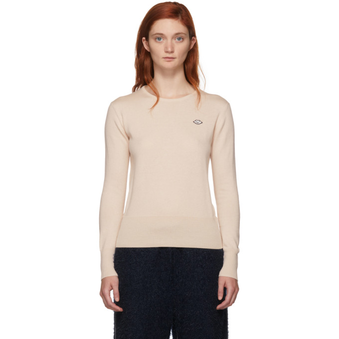 See By Chloe Pink Thin Crewneck Sweater, 6F1 Ivory R