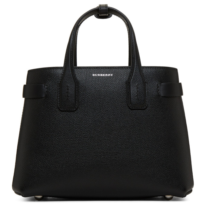Burberry The Small Banner In Leather And Vintage Check In Black