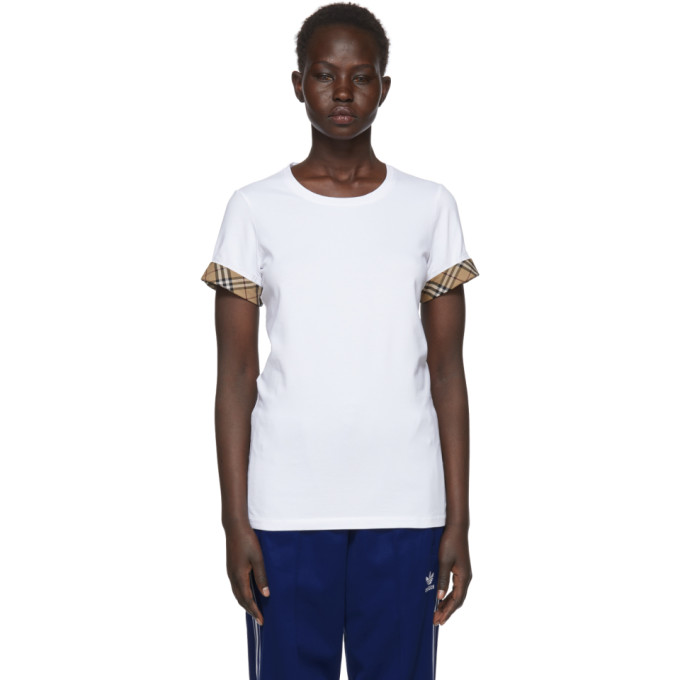White Check Cuffs T Shirt by Burberry
