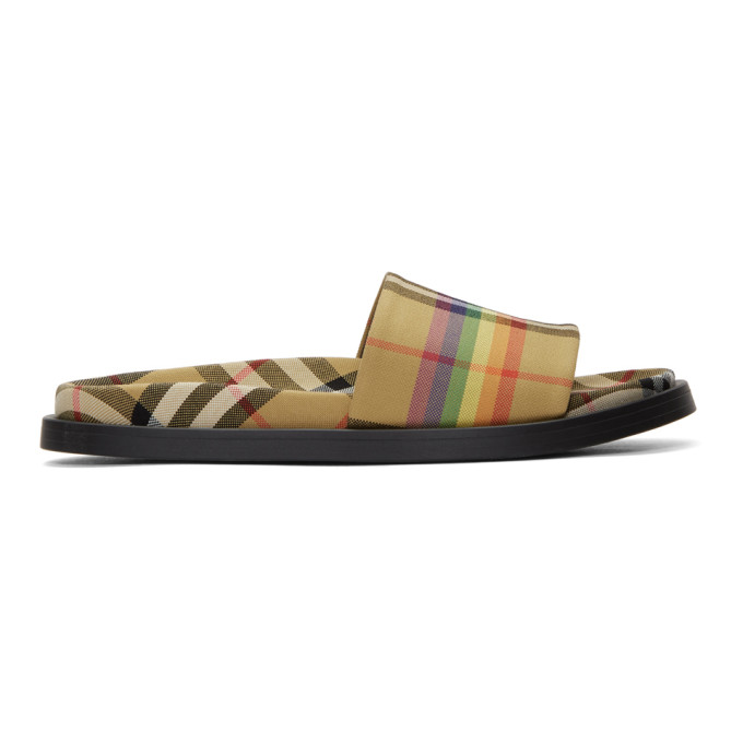 6cf124740ff Burberry Rainbow Vintage-Checked Slides In Yellow