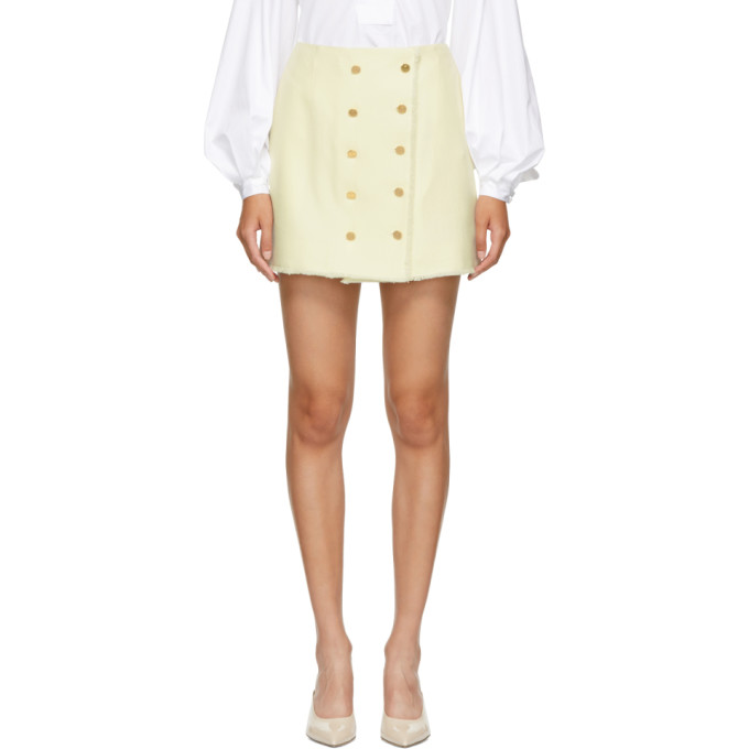 THOM BROWNE WHITE FRAYED WOOL DOUBLE-BREASTED MINISKIRT