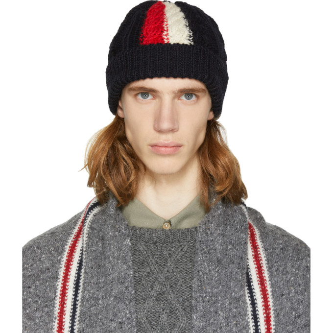 9622ca49f4a Thom Browne Ssense Exclusive Navy Aran Cable Knit Beanie In 415 Navy