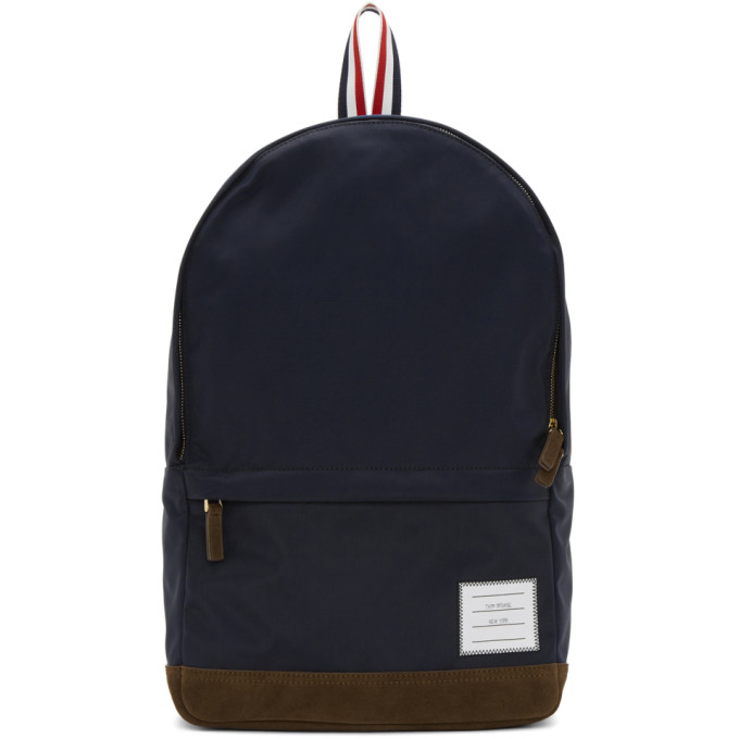 Unstructured Backpack In Nylon Tech And Suede in Blue