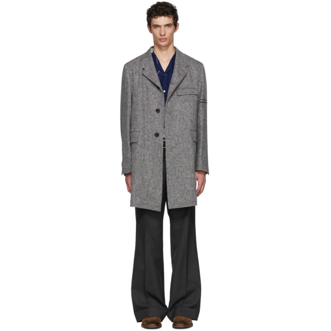 THOM BROWNE Grey Unstructured Classic Chesterfield Coat