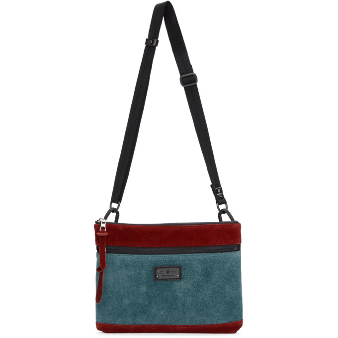 MASTER-PIECE CO Master-Piece Co Burgundy And Blue Revise Waterproof Messenger Bag in Turquoise