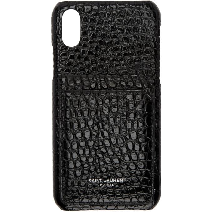 hot sale online e3f09 ac4f6 Black Croc iPhone X Case
