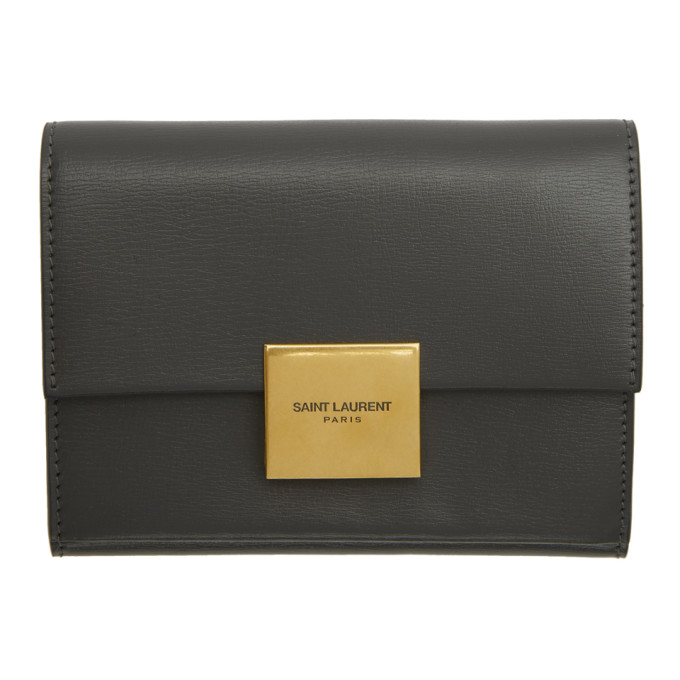 SAINT LAURENT GREY SMALL BELLECHASSE ENVELOPE WALLET