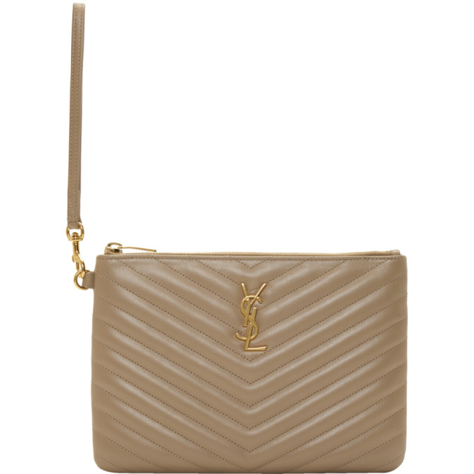 Beige Quilted Monogramme Pouch by Saint Laurent