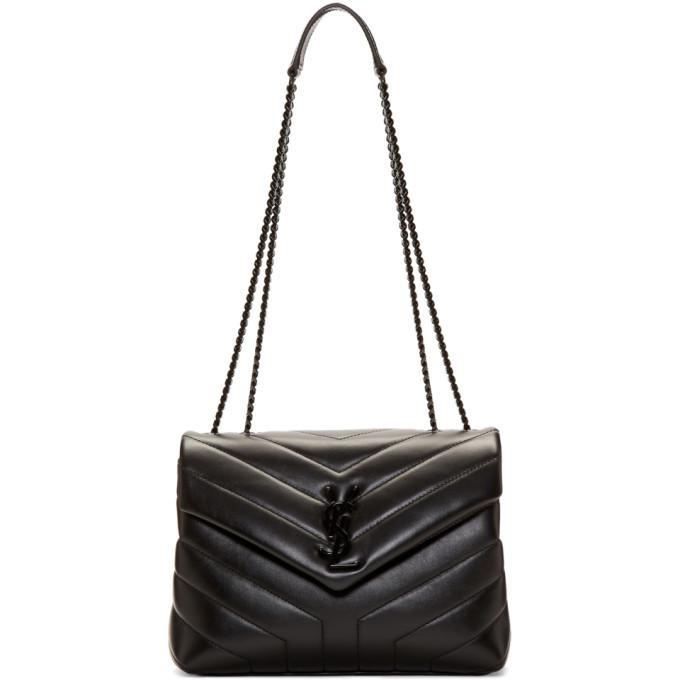 SAINT LAURENT Black Tonal Small Loulou Chain Bag