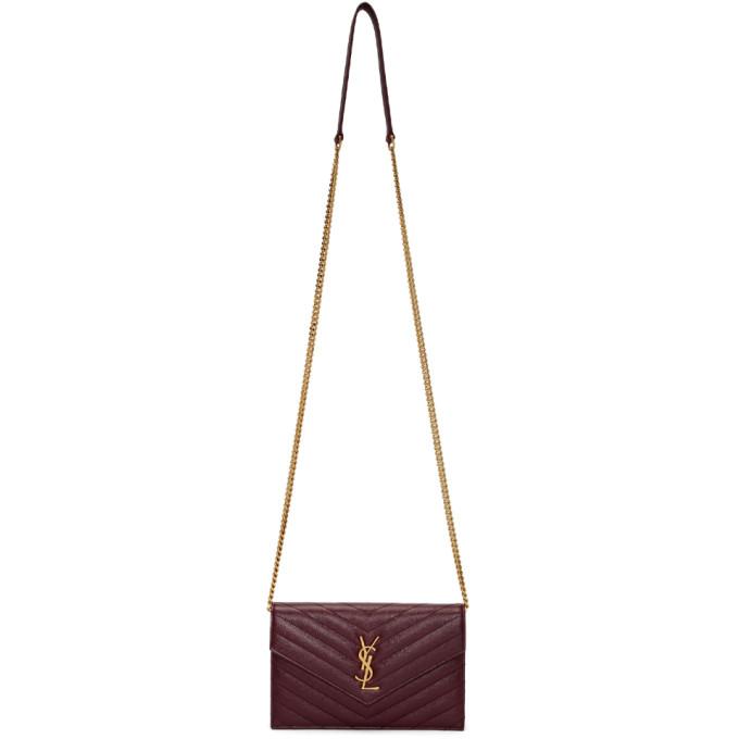 SAINT LAURENT Red Envelope Chain Bag