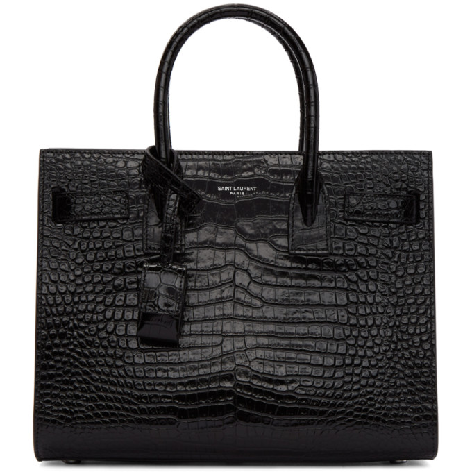 Black Croc Baby Sac De Jour Tote by Saint Laurent