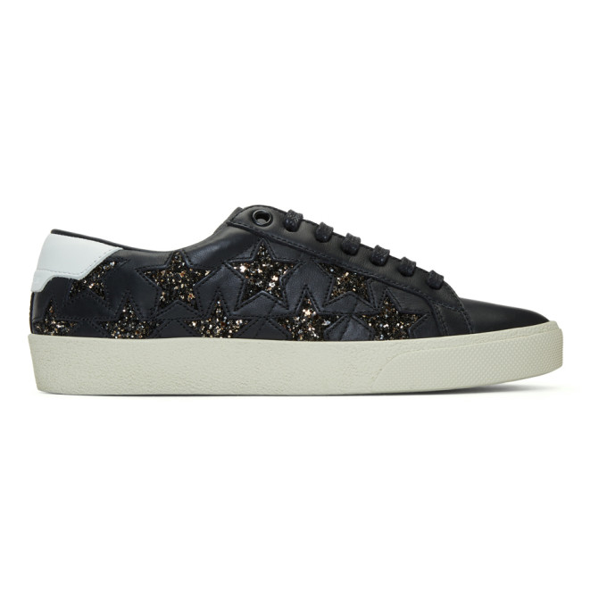 SAINT LAURENT BLACK GLITTER STARS COURT CLASSIC SNEAKERS