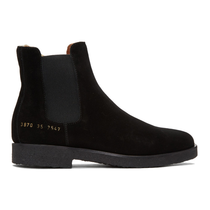 COMMON PROJECTS Black Suede Chelsea Boots in 7547 Black