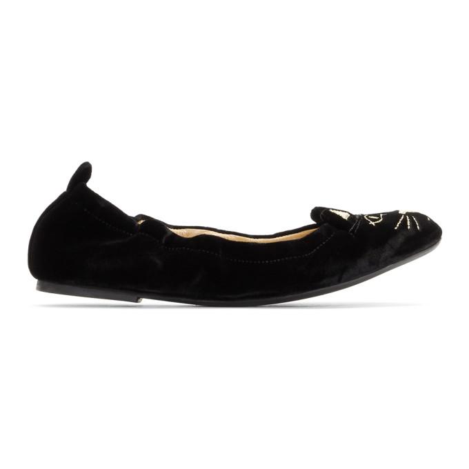 Women'S Kitty Velvet Ballet Flats, 08012 Black