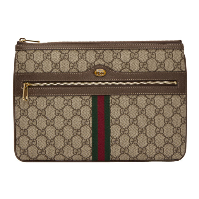 Gucci Brown Gg Supreme Ophidia Pouch, 8745 Brown