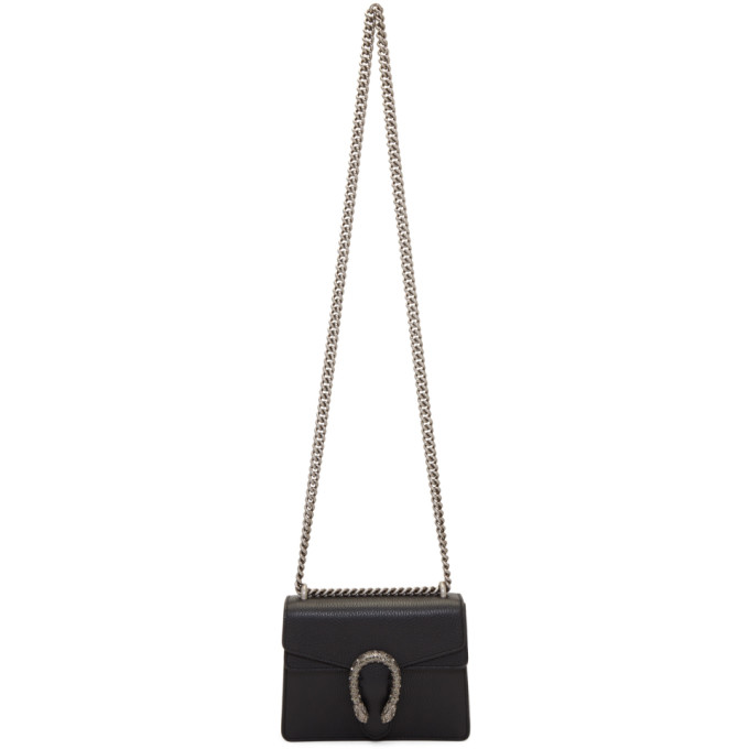 GUCCI BLACK SUPER MINI DIONYSUS CHAIN SHOULDER BAG