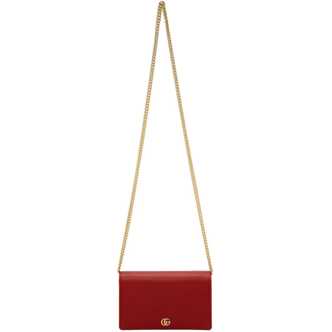 Red Small Marmont Chain Bag by Gucci
