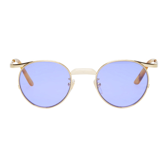 GUCCI GOLD ROUND ENGRAVED SUNGLASSES