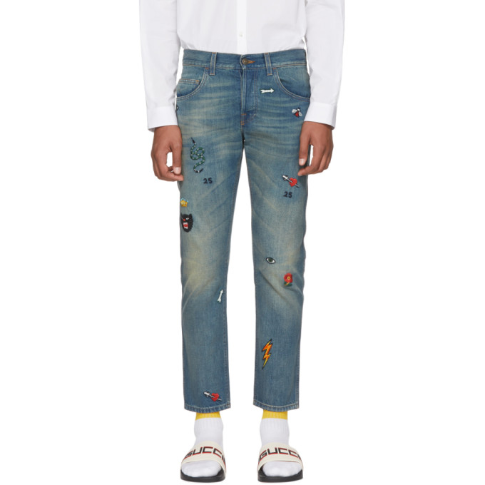 Blue Tapered Symbols Jeans by Gucci