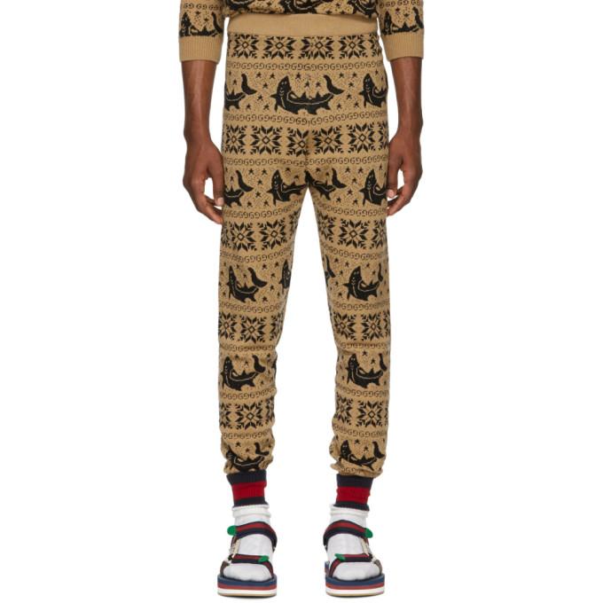 Brown All Over Jacquard Lounge Pants