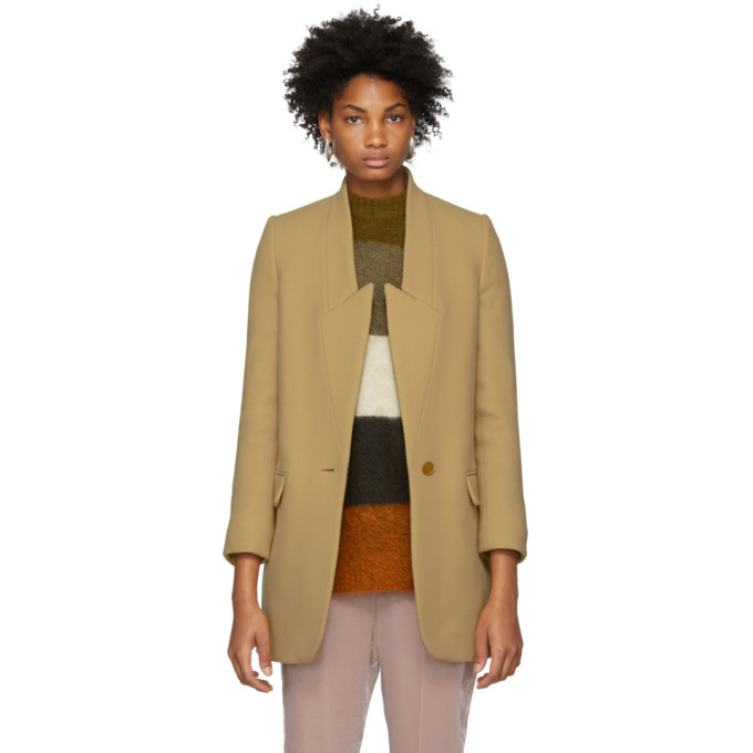 Stella Mccartney Tan Felted Wool Coat in 9840 Soft C