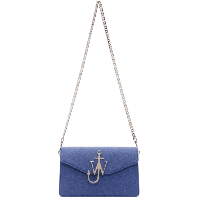 JW ANDERSON BLUE FELTED LOGO BAG