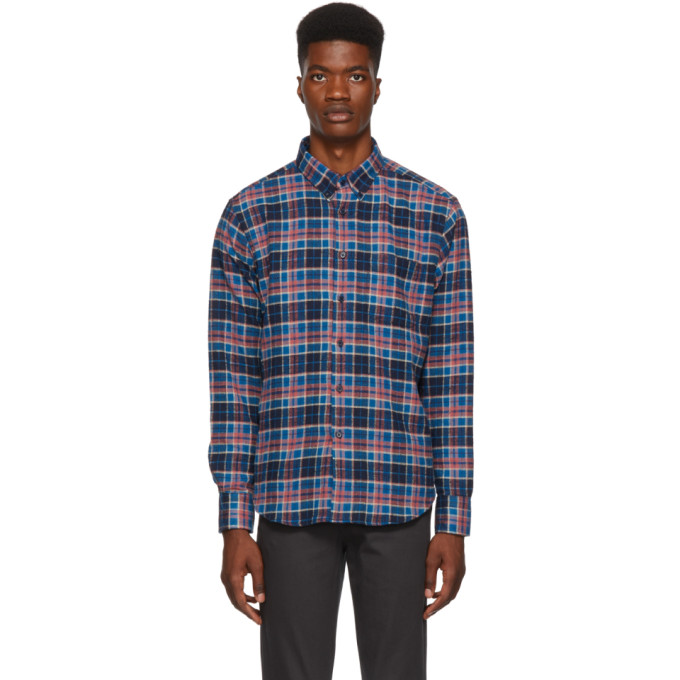 NAKED AND FAMOUS DENIM BLUE AND PINK RUSTIC FLANNEL SHIRT