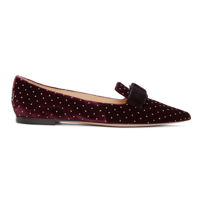 fe87dd0c2 Jimmy Choo Red And Silver Velvet Spotted Loafers In Grape Silve ...