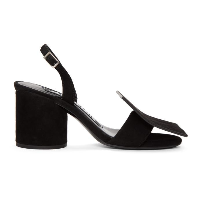 Les Rond Carré Appliquéd Suede Slingback Sandals, Black