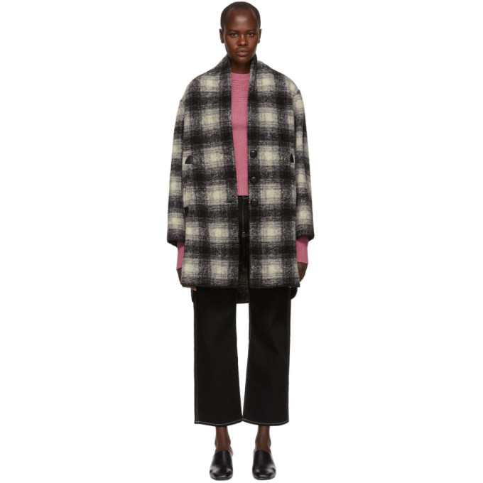 Isabel Marant Etoile Black And White Gabrie Wool Coat in 02An Anthra