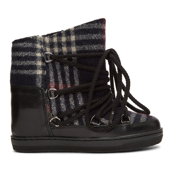 ISABEL MARANT BLACK AND NAVY NOWLES BOOTS