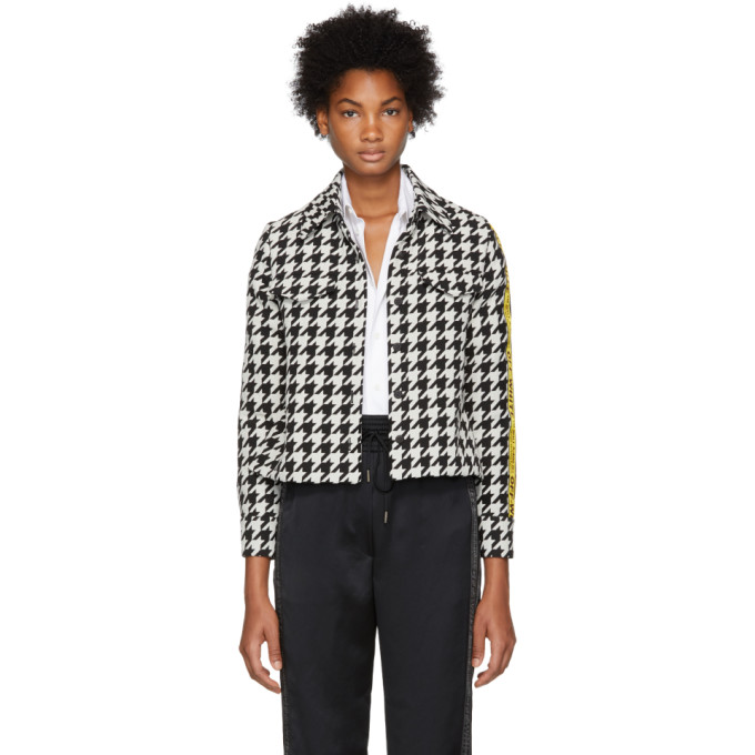 Canvas Jacquard-Trimmed Houndstooth Wool-Blend Jacket, Blk & Wht