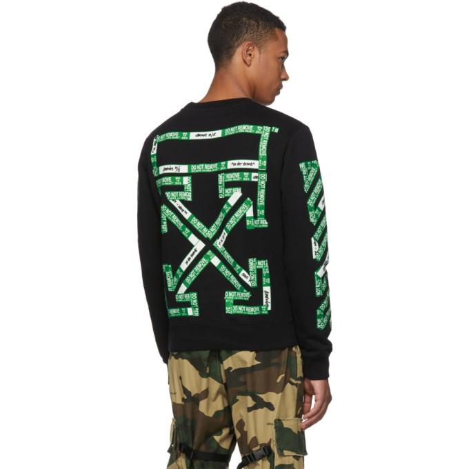 20b56f8a9103 Off-White Ssense Exclusive Black 3D Diagonal Sweatshirt In Black Green