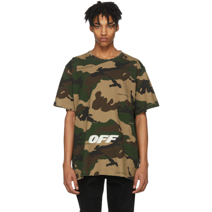 OFF-WHITE Logo-Embroidered Camouflage Cotton T-Shirt, 9901 Camou