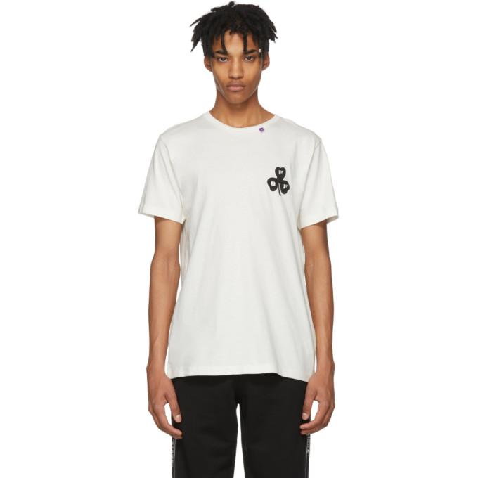 OFF-WHITE Globe Embroidered T-Shirt, Whitemulti
