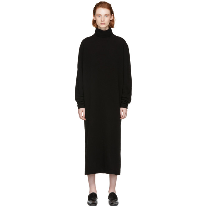 LEMAIRE Turtleneck Midi Dress in Black