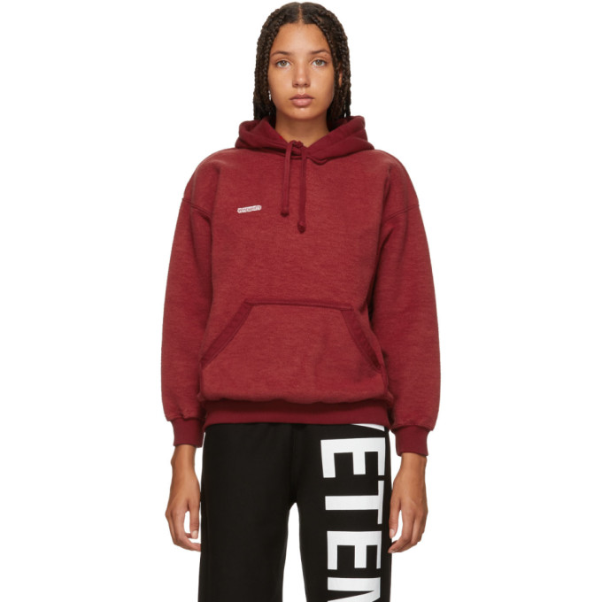 Red Fitted Inside Out Hoodie by Vetements