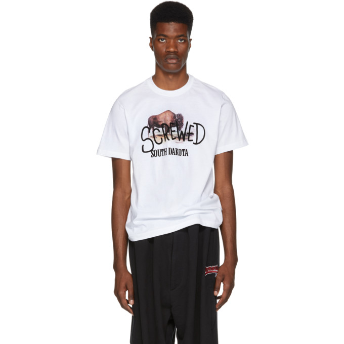 VETEMENTS Printed Cotton-Jersey T-Shirt in White